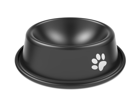Black Pet Bowl Isolated on White Background  photo
