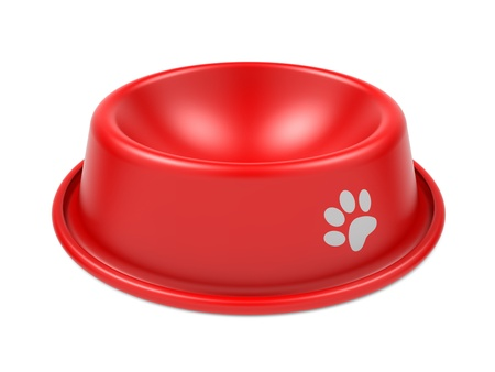 Red Pet Bowl Isolated on White Background  photo