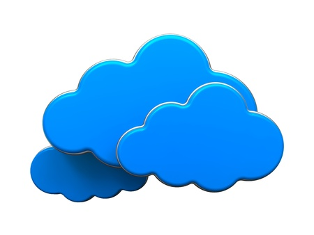 cloud computer: Cloud Computing Concept  Blue Clouds Isolated on White Background
