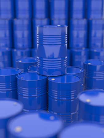 Blue Oil Barrels  Industrial Background with Selective Focus  photo