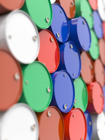 Colorfull Oil Barrels or Chemical Drums Stacked Up  Industrial Background with Selective Focus  photo