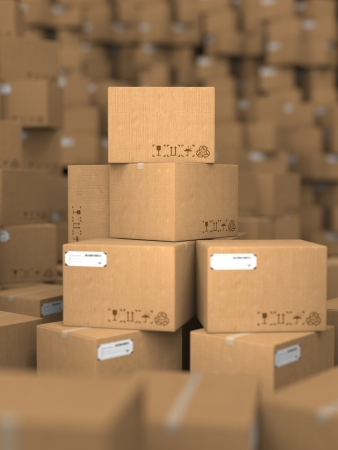 storage box: Stacks of Cardboard Boxes, Industrial Background  Stock Photo