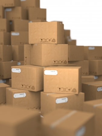 Stacks of Cardboard Boxes, Industrial Background  Stock Photo