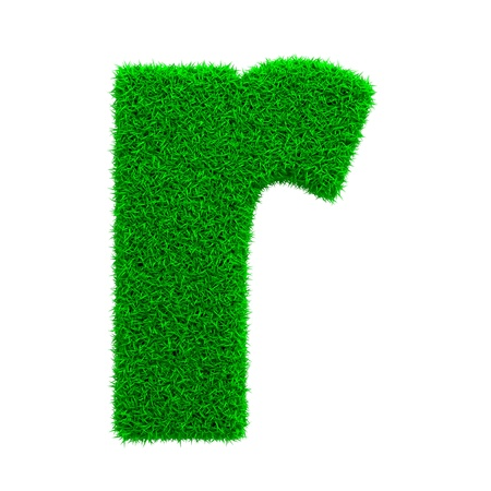 Grass Letter R Isolated on White Background  photo