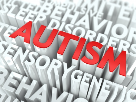 Autism Concept  The Word of Red Color Located over Text of White Color Stock Photo - 18108412
