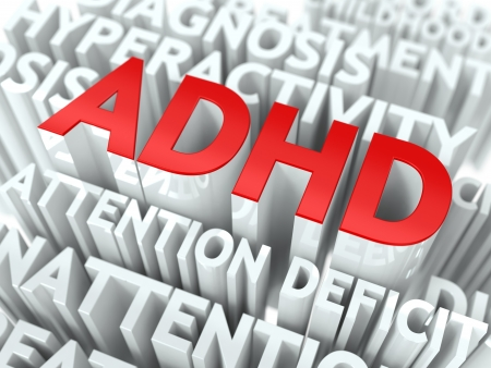 ADHD Concept  The Word of Red Color Located over Text of White Color  photo