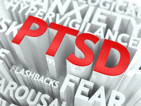 PTSD Concept  The Word of Red Color Located over Text of White Color  photo