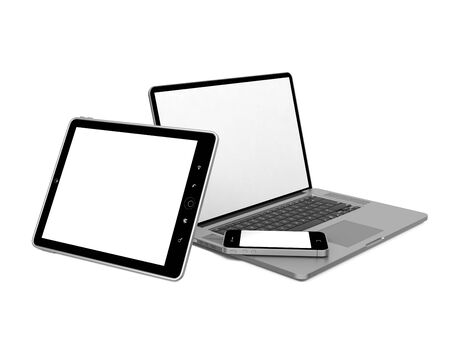 personal digital assistant: Set of Modern Computer Equipment  Isolated on White