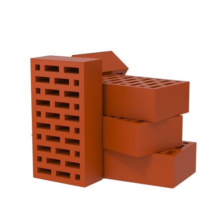 Stack of Red Bricks Isolated on White Background  photo