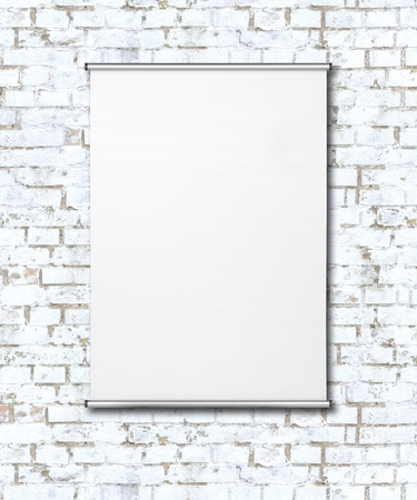 Empty Flipchart on White Brick Wall  photo