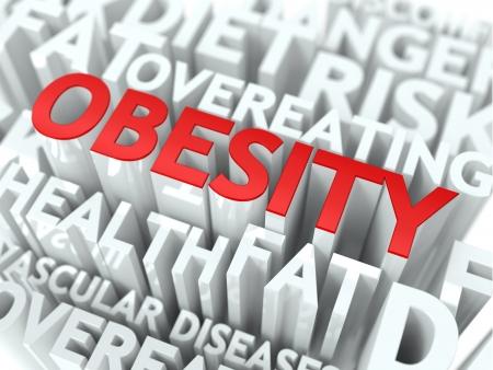 sobrepeso: Concepto Obesidad La Palabra de color rojo situado sobre texto de color blanco