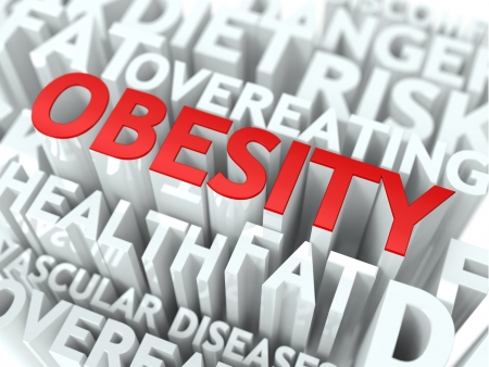 Obesity Concept  The Word of Red Color Located over Text of White Color  photo