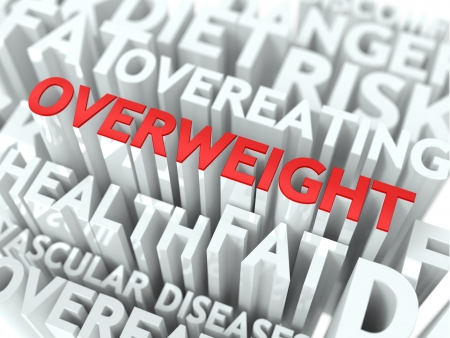 Overweight Concept  The Word of Red Color Located over Text of White Color Stock Photo - 18216000