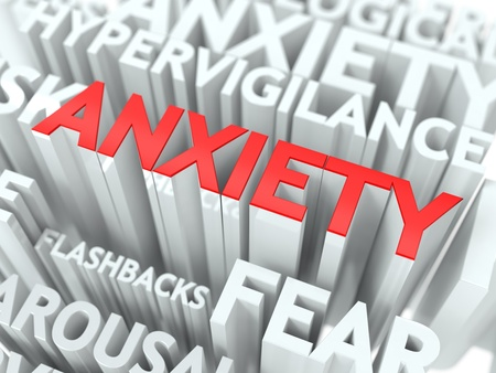 Anxiety Concept  The Word of Red Color Located over Text of White Color  photo