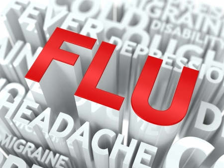 cold and flu: Flu Concept  The Word of Red Color Located over Text of White Color
