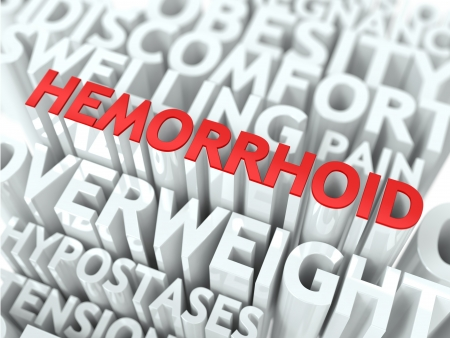 Hemorrhoid Concept  The Word of Red Color Located over Text of White Color  photo