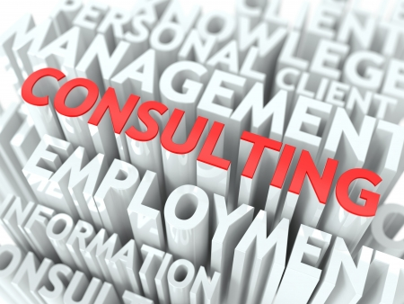 management training: Consulting Concept  The Word of Red Color Located over Text of White Color  Stock Photo