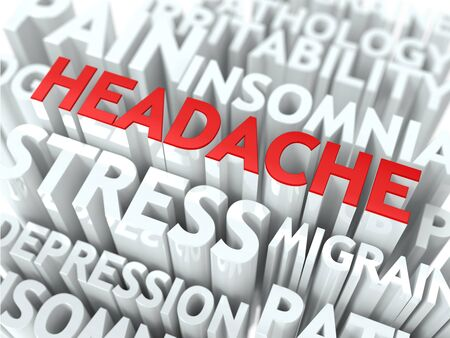 Headache Concept  The Word of Red Color Located over Text of White Color Stock Photo - 18216002