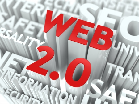 web 2 0: Web 2 0 Concept  The Word of Red Color Located over Text of White Color