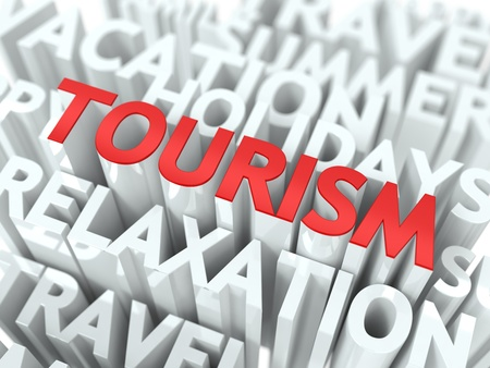 Tourism Concept  The Word of Red Color Located over Text of White Color  photo