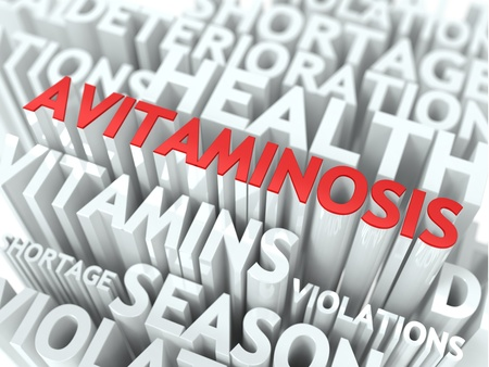 Avitaminosis Concept  The Word of Red Color Located over Text of White Color  Stock Photo - 18561454