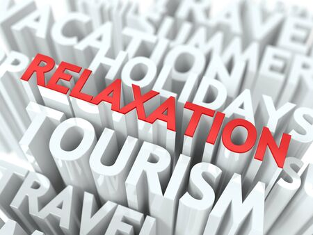 Relaxation Concept  The Word of Red Color Located over Text of White Color Stock Photo - 18561450