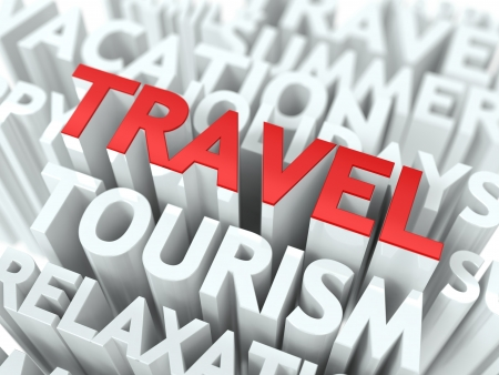Travel Concept  The Word of Red Color Located over Text of White Color  photo