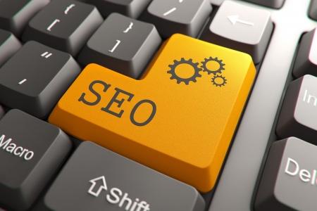 Seo, Orange Button on Computer Keyboard  Internet Concept Stock Photo - 18848437