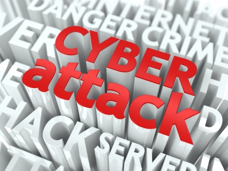 cyber attack: Cyber Attack Concept  The Word of Red Color Located over Text of White Color  Stock Photo