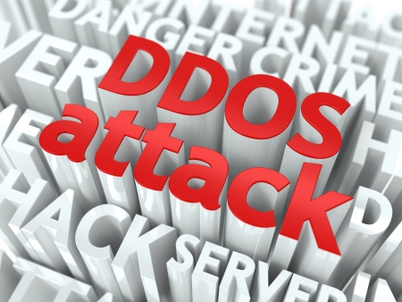 backdoor: DDOS Attack Concept  The Word of Red Color Located over Text of White Color