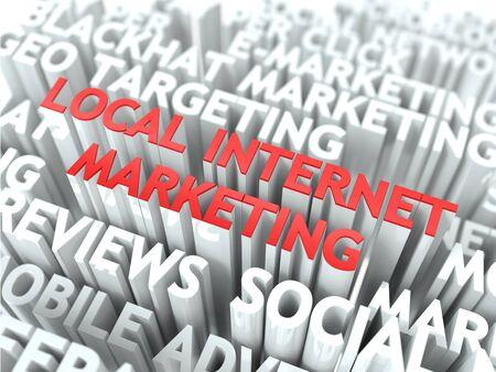 web service: Local Concept Marketing en Internet La Palabra de color rojo situado sobre texto de color blanco
