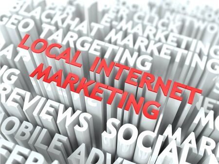 Local Internet Marketing Concept  The Word of Red Color Located over Text of White Color  photo