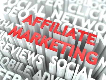 rewarded: Concepto de marketing de afiliados La Palabra de color rojo situado sobre texto de color blanco Foto de archivo