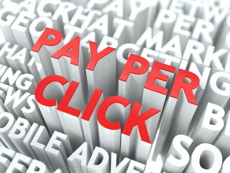 Pay Per Click  PPC  Concept  The Word of Red Color Located over Text of White Color  photo