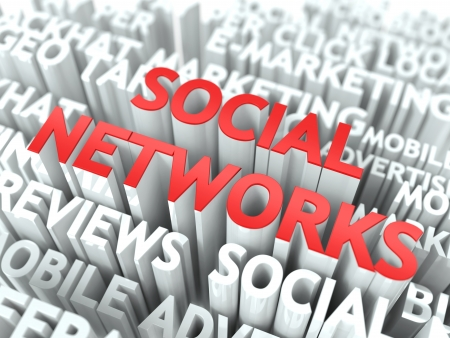 Social Networks Concept  The Word of Red Color Located over Text of White Color Stock Photo - 18905942