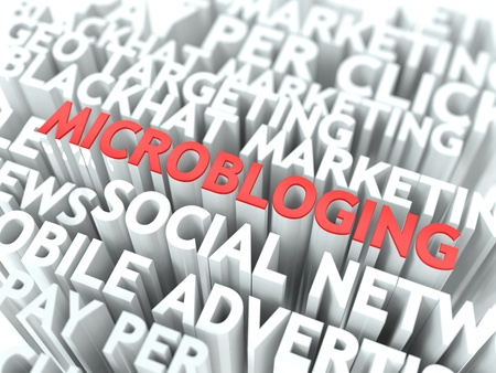 Microbloging Concept  The Word of Red Color Located over Text of White Color Stock Photo - 18905846