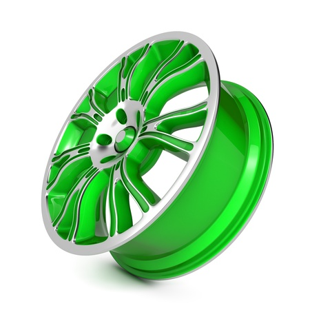 Green Car Rim  Isolated on White Background  photo
