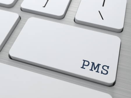premenstrual syndrome: PMS  premenstrual  syndrome  Concept  Button on Modern Computer Keyboard with Word Partners on It  Stock Photo