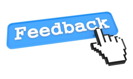 Feedback Button with  Hand Shaped mouse Cursor Stock Photo - 19022725