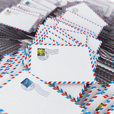 addressee: Pile of Envelopes, Letters  Image with Selective Focus  Stock Photo