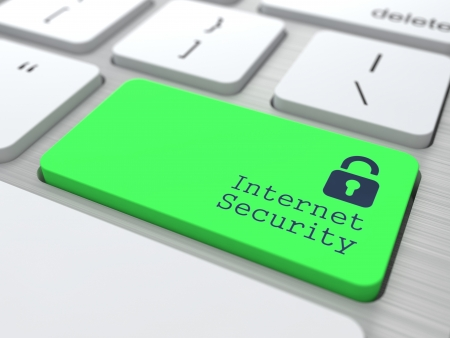 Internet Security Concept  Button on Green Modern Computer Keyboard  3D Render  Stock Photo - 19236626