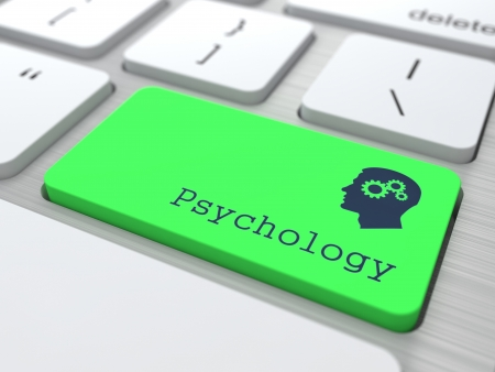 Psychology Concept  Button on Green Modern Computer Keyboard  3D Render  Stock Photo - 19236627