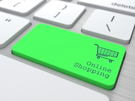 Compras en línea Button Concept en verde moderno teclado de la computadora en 3D Render