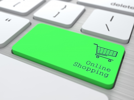 e store: Online Shopping Concept  Button on Green Modern Computer Keyboard  3D Render