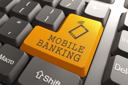 Mobile banking Concept  Orange Button on Computer Keyboard  3D Render Stock Photo - 19236639