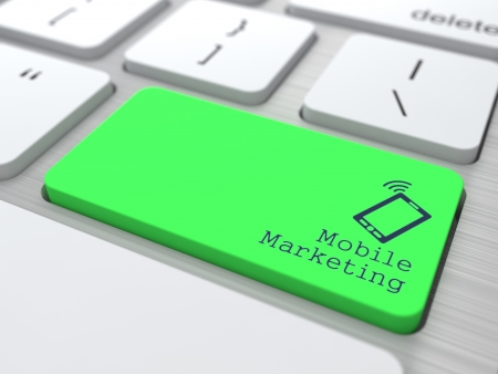 Mobile Marketing Concept  Button on Green Modern Computer Keyboard  3D Render  photo