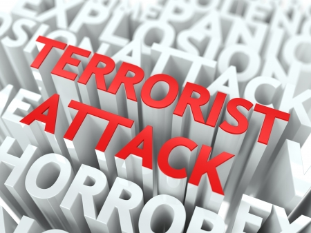Terrorist Attack Concept  The Word of Red Color Located over Text of White Color  photo