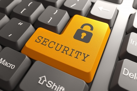 Information Security  Orange Button on Computer Keyboard  3D Render  Stock Photo - 19236638