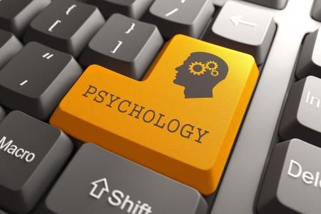 enfermedades mentales: Bot�n anaranjado Psicolog�a en el teclado de computadora