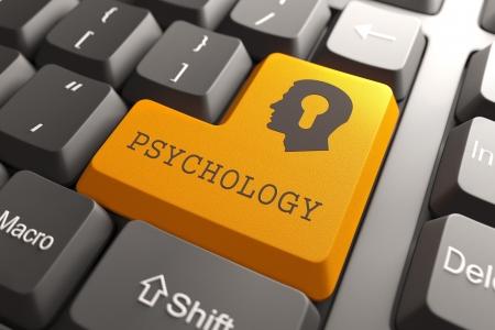 enfermedades mentales: Bot�n anaranjado Psicolog�a en el teclado de Psicolog�a Concept